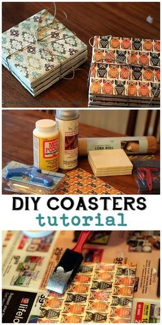 DIY Coasters. Great way to use all my scrapbook paper!! Also could make some for holidays! (halloween scrapbook paper)