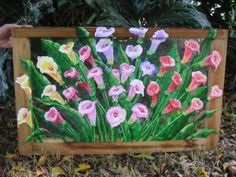 """Calla Lily oil painting on antique window. 1'x2'-6"""""""