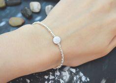 C-111 Silver Beaded bracelet, Seed beads bracelet, Coin bracelet, Simple, Modern bracelet, Silver plated/Everyday jewelry/
