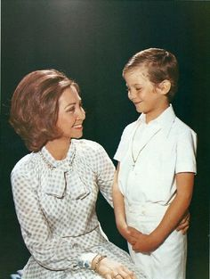 Queen Sofia of Spain and her son Prince Felipe of Spain in the 70s.