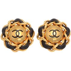 CHANEL - CHANEL BLACK/GOLD CHAIN CC EARRINGS ❤ liked on Polyvore featuring jewelry, earrings, accessories, chanel, ear rings, yellow gold earrings, gold earrings, yellow gold jewelry, gold chain jewelry and gold chain earrings