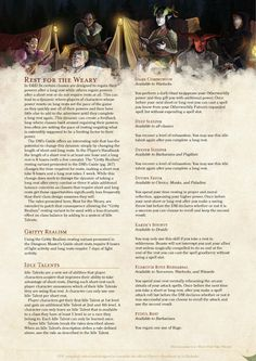 DnD 5e Homebrew — Rest for the Weary: Gritty Realism Resting by...