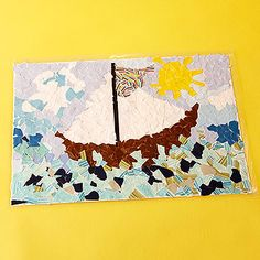 What a masterpiece! Help kids create a picture-perfect mosaic place mat out of paper and fabric scraps. #ParentsCrafts