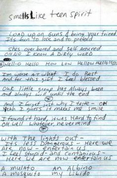 "The lyrics to Nirvana's hit ""Smells Like Teen Spirit,"" by Kurt Cobain. Music Love, Music Is Life, Rock Music, My Music, Indie Music, Nirvana Lyrics, Nirvana Quotes, Nirvana Kurt Cobain, Kurt Cobain Quotes"