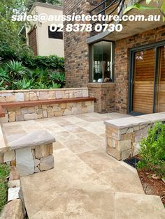 Walling: Ranch Irregular Walling has irregular shapes, sizes and thicknesses. is a combination of earthy colours like mauves, browns, yellows and whites.  Flooring: Travertine Classic Paver is close geological relation to limestone, is an enduring sedimentary rock that boasts an ironic history in both traditional and contemporary architecture.  Capping: Customized size made from Australian local sandstone.  #Aussietecture #stone cladding #stonewalling #architecture #landscape #landscape…
