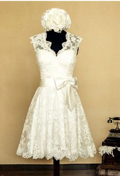 ba9c92c605 2015 White Ivory Vintage Lace Wedding Dresses Tea Length Bridal Gown Custom  Made Lace Weddings