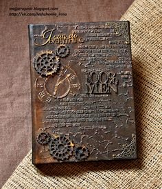 """My scrap world: A new task from """"Hobbies to everyone! - My scrap world: A new task from """"Hobbies to everyone! Steampunk Book, Steampunk Crafts, Handmade Journals, Handmade Books, Handmade Notebook, Mixed Media Journal, Mixed Media Canvas, Journal Covers, Art Journal Pages"""