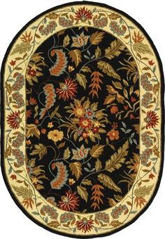 Safavieh Handmade Paradise Black Wool Rug (4'6 x 6'6 Oval) - Overstock Shopping - Great Deals on Safavieh Round/Oval/Square