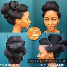 Teyonah Parris natural hair Roll and Tuck Hairstyle