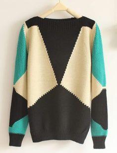 Pop Art Retro Geometric Pattern Collar Loose Sweater