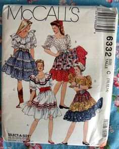 McCalls 6332 Square Dance Womans Top Skirt Petticoat FF EC Sizes 10, 12, 14 #McCall #SquareDancingClothesWoman