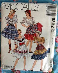 McCalls 6332 Square Dance Womans Top Skirt Petticoat FF EC Sizes 10, 12, 14 #McCall #SquareDancingClothesWoman