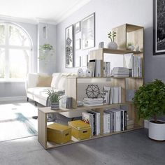 17 Stories This decorative geometric bookcase with six compartments, with a stepped effect that can also be used as shelves. Ideal for both your living room and for separating two rooms or the children's bedroom. Colour: Brown Living Pequeños, Home Living Room, Living Room And Bedroom Combo, Living Room Bookcase, Small Apartment Living, Decorating Small Apartments, Apartment Design, Apartment Office, Living Room Inspiration