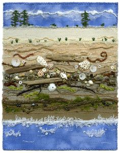 Sea to Sky. Beachcombing, Long Beach, the beautiful rugged coast... Fabric art collage with machine and hand embroidery, sewing, yarns and threads. Seashells, driftwood, and beads. www.chursinoff.com