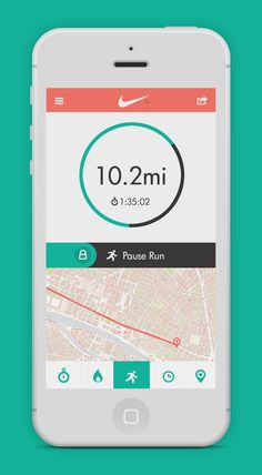 Nike run app #design #flat #minimalistic