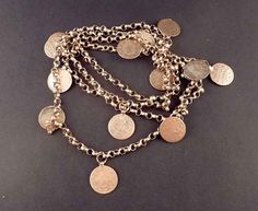 Coin vintage mixed bedouin silved necklace from Syria