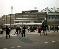 1972: Crowds gather outside Old Trafford before a clash with Derby County