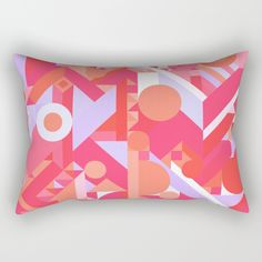 "Our Rectangular Pillow is the ultimate decorative accent to any room. Made from 100% spun polyester poplin fabric, these ""lumbar"" pillows feature a double-sided print GEOMETRY SHAPES PATTERN PRINT (WARM RED LAVENDER COLOR SCHEME) Many shapes making up a chaos geometric pattern with warm and cool colors feminine hippie hippy happy happiness adventure wanderlust magic magical mystical awesome crazy red pink purple lavender girly college decor motivating cubist cubism cool"