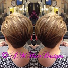 Natural blonde with lowlights stacked short undercut AMHairDesigns