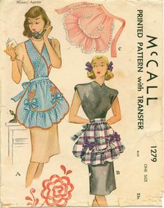 1940's Sewing Pattern  Vintage Apron with by shellmakeyouflip