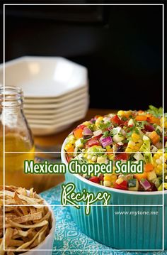 My Tone: Mexican Chopped Salad Chocolate Cheescake, Mexican Chopped Salad, Salad Recipes, Smoothies, Sandwiches, Stuffed Mushrooms, Good Food, Vegetarian, Lunch