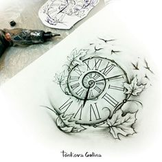 Watch tattoo on sketch (on paper) illustrations by Galina Tonkova - tatoo feminina Pocket Watch Tattoos, Pocket Watch Drawing, Clock Drawings, Pencil Art Drawings, Clock Tattoo Sleeve, Sleeve Tattoos, Clock Tattoo Design, Tattoo Designs, Time Tattoos