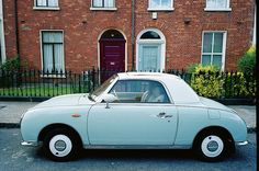 """Blue Figaro by Mark Waldron, via Flickr"" - Little 1990s Nissan Figaros in powder blue or pastel pink... Want!"
