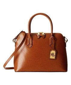 Look at this #zulilyfind! Tan Tate Dome Leather Satchel by Lauren Ralph Lauren #zulilyfinds