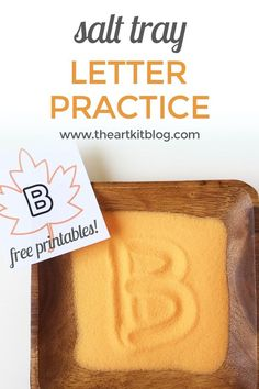 Salt Tray for Letter Writing Practice {With FREE Printables} – Fall Themed via @The Art Kit | Arts and Crafts + Kids Activities