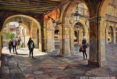 Spanish painter  Antonio Varas de la Rosa. Plaza Mayor de Salamanca