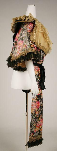 Cape Date: 1895–1900 Culture: French (probably) Medium: silk, cotton, metallic thread. Sideway