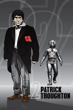 Doctor Who  Patrick Troughton & Cyberman  18 x 12 by DadManCult, $12.99