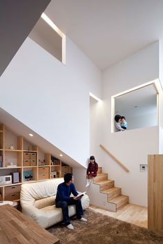 The House in Kyobate, designed by Naoko Horibe, was designed with the family's two young children in mind. Centered around a Japanese-style mezzanine that has traditional tatami flooring, the space links several spaces in the house, as well as offering a view to the common area below. It's also the reason for the extending facade on the exterior.
