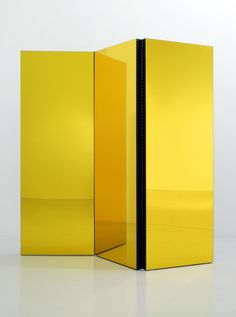 Tom Burr, Folding Screen (Yellow), 2003, wooden board, paint, yellow perspex mirror, 178 x 180 x 5.5 cm / 70.1 x 70.9 x 2.2 ins, (MA-BURRT-00037)