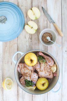 Picantones con mostaza, miel y limón