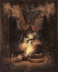 Inspired by the old Dutch masters, the occult and oriental illustration, Moscow-based artist Denis Forkas creates mystical paintings and illustrations. Arte Horror, Horror Art, Metal Albums, Occult Art, Creepy Art, Fantastic Art, The Villain, Macabre, Dark Art