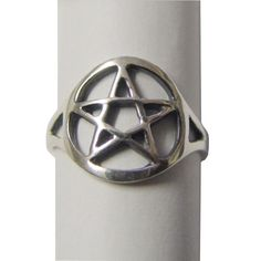 Défilement travail Pentagramme Pentacle Sterling Silver Ring par Peter Stone Fine Jewelry