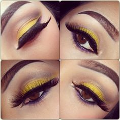 Lovely Lashes with Purple and Yellow shadow.