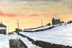 De-Restriction With A Short Cut - Peter Brook Winter Painting, Winter Art, Norman Cornish, Clark Art, Winter Scenes, British Isles, Life Drawing, Paintings For Sale, Landscape Art