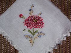 Vintage White Hanky with Embroidered Red Flowers by HankyLady