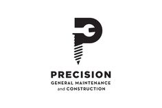 Maintenance and construction company logo. The logo clearly shows what service the company provides with the P taking on the shape of a precision drill and the negative space also looks like a wrench.