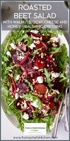 """""""Great, easy salad. I used mixed greens!"""" -- This gorgeous showstopping salad is perfect for any occasion! Once the beets are roasted (which you can do well ahead of time), the salad comes together quickly. Serve as part of a holiday buffet and your guests will ooh and aah! Roasted Vegetable Salad, Roasted Beet Salad, Beet Salad Recipes, Recipes For Beets, Balsamic Salad Recipes, Beet Recipes Healthy, Healthy Salads, Beet Goat Cheese Salad, Beet Salad With Feta"""