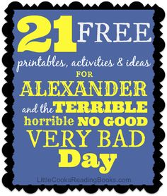 """21 FREE printables, activities and resources for """"Alexander and the Terrible..."""" book and movie #movies #books #kids #homeschool #printables #free #teachers"""