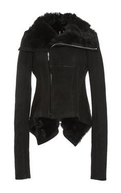 Black Shearling Naska Biker Jacket by Rick Owens Now Available on Moda Operandi