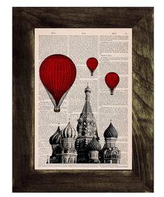 Vintage Book Print - Moscow Saint Basils Balloon Ride Print on Vintage Book