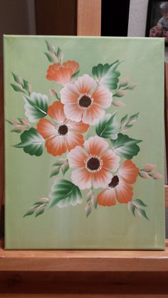 one stroke Blumen Easy Flower Painting, Mandala Painting, Tole Painting, Fabric Painting, Painting On Wood, Acrylic Flowers, Acrylic Art, Watercolor Flowers, Cherry Blossom Drawing