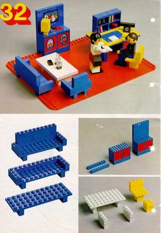 LEGO 222 Building Ideas Book instructions displayed page by page to help you build this amazing LEGO Books set Lego Duplo, Lego Building, Building Ideas, Casa Lego, Lego Basic, Lego Books, Lego Furniture, Minecraft Furniture, Construction Lego