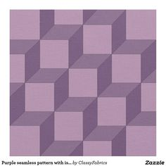 Purple seamless pattern with isometric cubes fabric