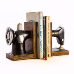 Book Ends Vintage Sewing Machine with Golden Trimmings Great Gift Idea New | eBay