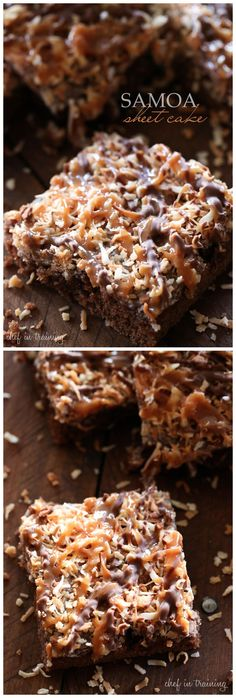 Samoa Sheet Cake Ingredients: 2 cups flour 2 cups sugar ½ cup butter 1 cup water 4 Tablespoons cocoa ½ cup shortening ½ cup buttermilk ½ teaspoon baking soda 2 eggs 1 teaspoon vanilla FROSTING ½ cu...